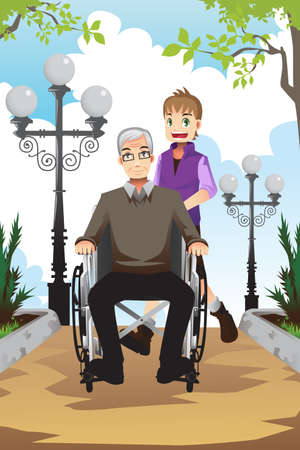 A of a little boy pushing his grandfather sitting on a wheelchair Vector