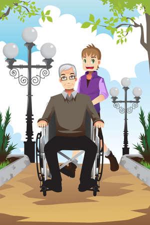 Een van een kleine jongen duwt zijn grootvader zittend op een rolstoel Stock Illustratie
