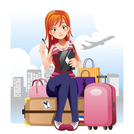 Ilustracja dziewczyna podróżująca siedzi z jej bagaż