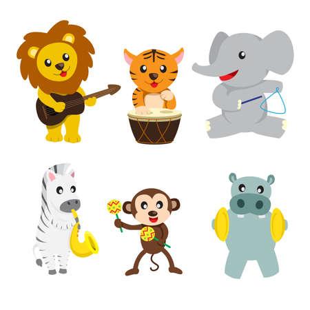 Una ilustraci�n de los animales salvajes que tocan instrumentos musicales