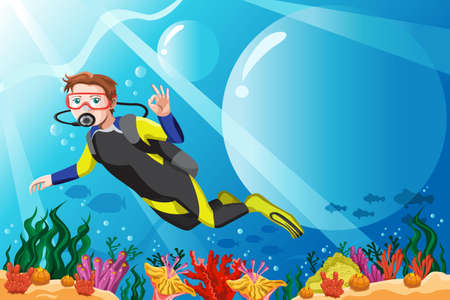 underwater fishes: A  illustration of a scuba diver diving in the ocean