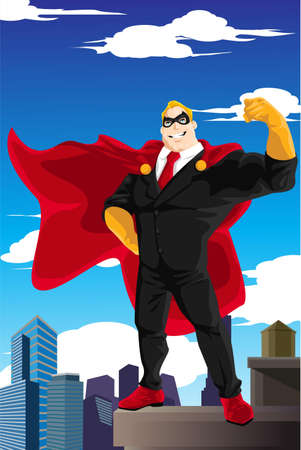 A  illustration of a superhero businessman wearing a cape standing on top of a building Stock Illustratie