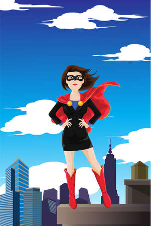 A illustration of a superhero businesswoman wearing a cape standing on top of a building