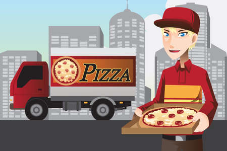 A  illustration of a pizza delivery man Stock Vector - 17232982
