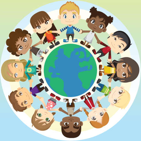 Une illustration d'un groupe ethnique à plusieurs des enfants se tenant la main autour du globe