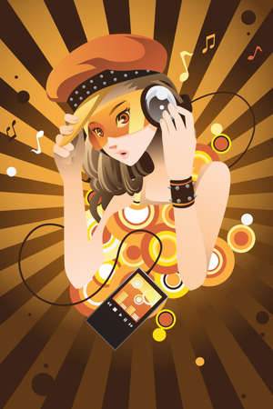 teenage girl: A  illustration of a beautiful girl listening to music