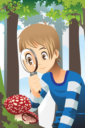 A illustration of a boy looking through a magnifying glass exploring wild mushroom in the forest Vector