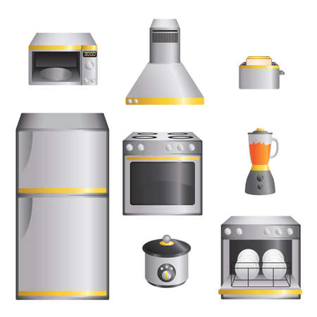 A  illustration of a set of kitchen appliances Vector