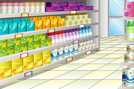 supermarket shelves: A illustration of grocery store aisle