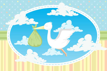 A illustration of a stork carrying a baby in a bundle Vector
