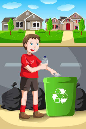 A vector illustration of a kid recycles a bottle into a recycling bin Ilustrace