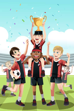 A  illustration of a young soccer team celebrating a win and lifting a trophy