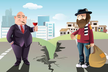 hombre pobre: Una ilustración de un concepto de la brecha entre los ricos y los pobres