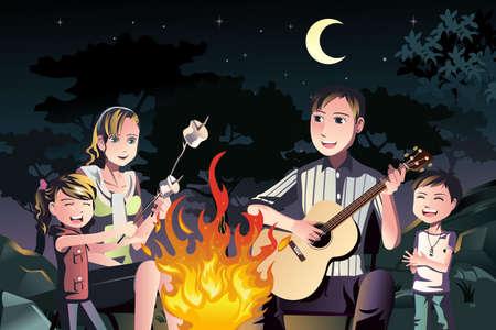 ni�o cantando: Una ilustraci�n de una familia feliz que tiene una fogata al aire libre
