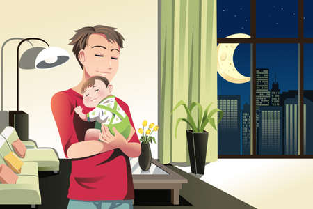 baby sleeping: A  illustration of a father and a son spending time at home