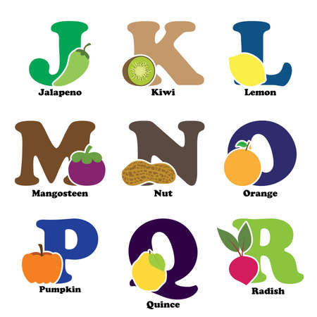 vegatables: A vector illustration of fruit and vegetables in alphabetical order from J to R