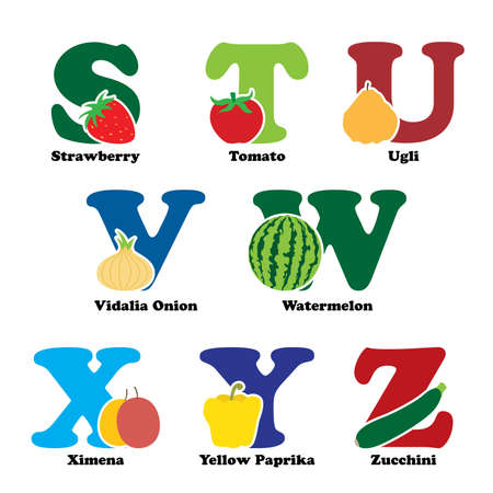A  illustration of fruit and vegetables in alphabetical order from S to Z Vettoriali