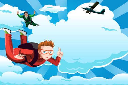 Une illustration de personnes parachutisme avec copyspace Vecteurs
