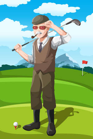 senior exercise: A  illustration of a senior golfer