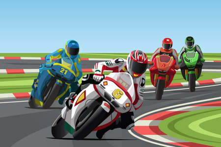 racing: A  illustration of motorcycle racing on the racetrack