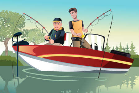 A  illustration of a senior father and his adult son going fishing on a boat Ilustração