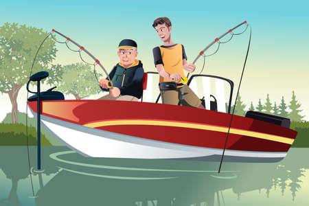 hombre pescando: Una ilustración de un padre mayor y su hijo adulto de pesca va en un barco