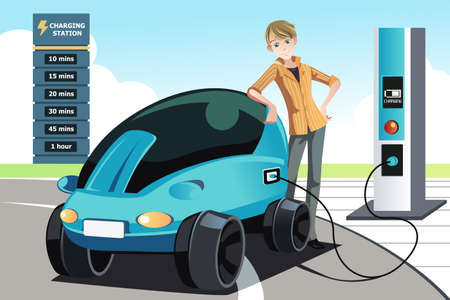 fueling: A  illustration of a man charging his electric car at the station