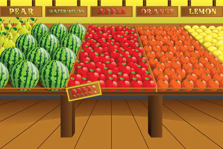 A  illustration of grocery store produce aisle Çizim