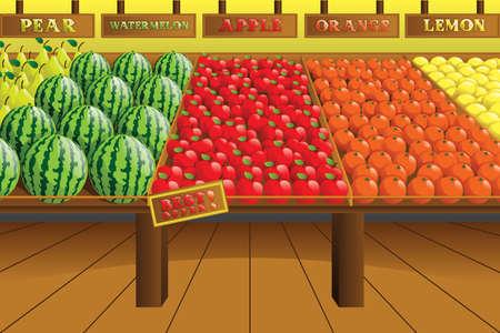 Een illustratie van supermarkt produceren gangpad