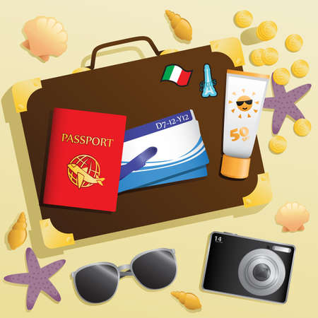summer holiday: A  illustration of travel items background