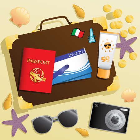 Een illustratie van reisartikelen achtergrond