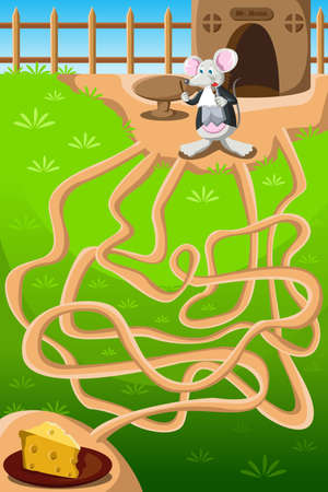 solved maze puzzle: A vector illustration of a mouse needing to go through maze to get to the cheese Illustration