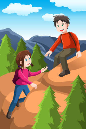 A vector illustration of kids hiking in the forest Vector