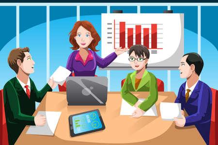 Une illustration de vecteur de gens d'affaires ayant une discussion lors d'une réunion