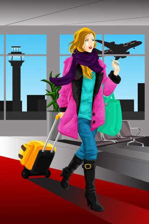 Een vector illustratie van een reizende vrouw op de luchthaven