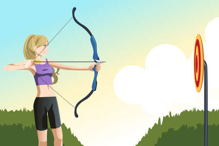 A vector illustration of an archer woman aiming at a target Vector