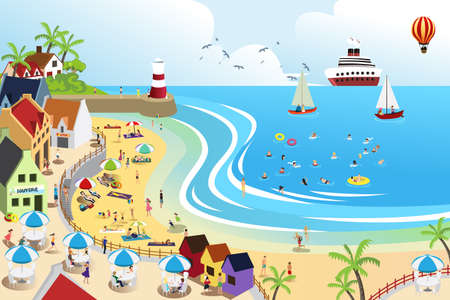 panoramic view: A vector illustration of a view of a beach town from above
