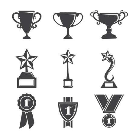 premios: Una ilustraci�n vectorial de un conjunto de iconos trofeo