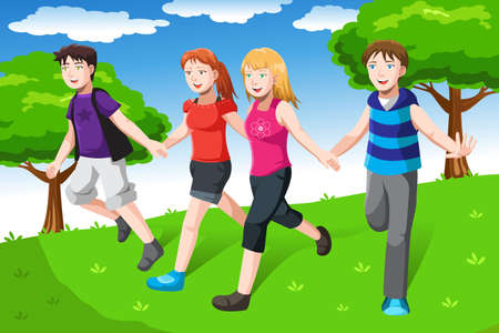 teenagers group: A vector illustration of a group of friends holding hands together