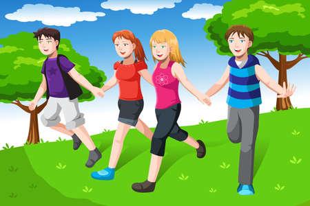 Een vector illustratie van een groep vrienden hand in hand samen