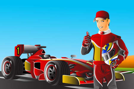 A vector illustration of a race car driver in front of his car Vector