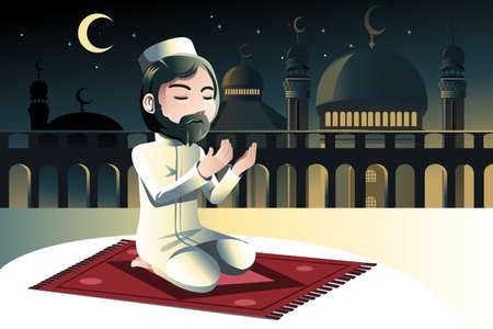 Een vector illustratie van een moslim bidden in een moskee