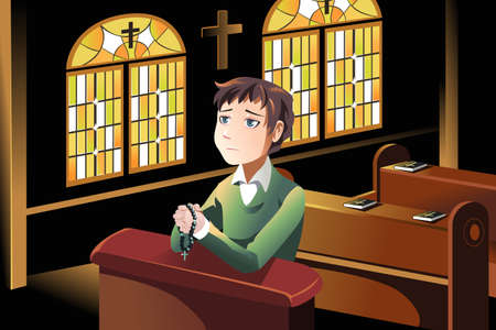 church service: A vector illustration of a Christian man praying in the church
