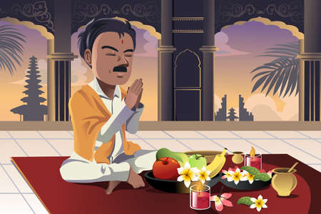 A vector illustration of Hindu man praying in a temple