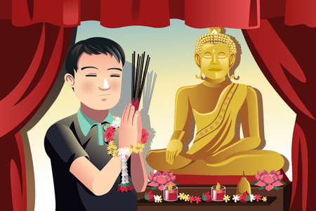 A vector illustration of a Buddhist man praying in a temple Ilustrace
