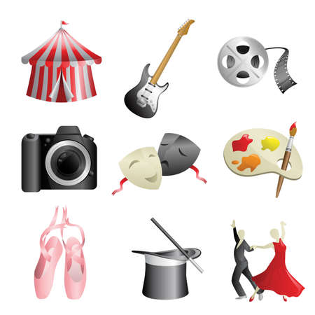 A vector illustration of arts and entertainment icons Stock Vector - 17573038