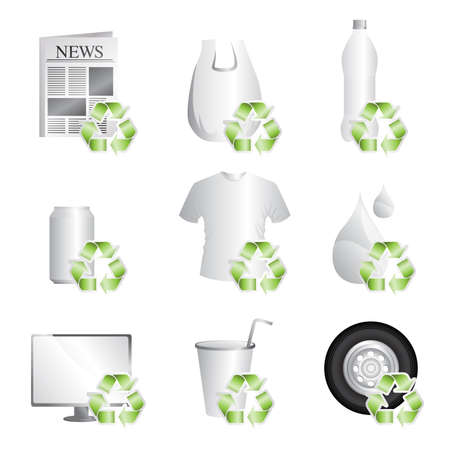 enviromental: Una ilustraci�n vectorial de diferentes elementos que se pueden reciclar