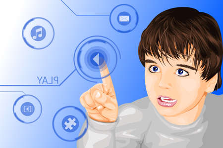 A vector illustration of a kid using a modern futuristic technology