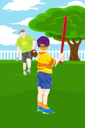 A vector illustration of a father and his son playing baseball in the backyard Ilustração