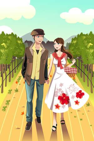 ワイナリーで歩く若いカップルのベクトル イラスト